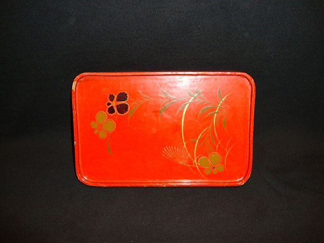 Red Lacquer Tray with and Painted Gold & Black Flowers