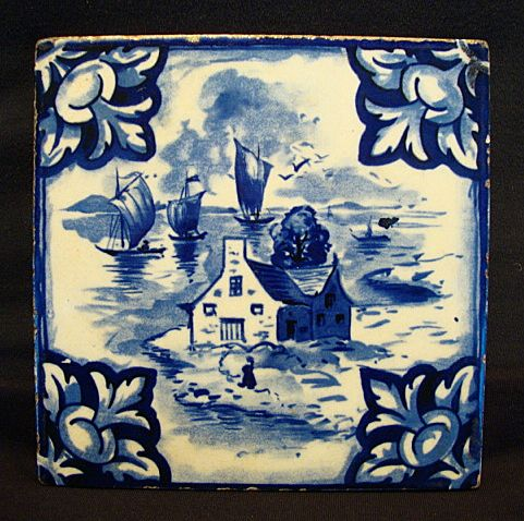 MISC395: Nice USA Tile with Blue & White Sea Side Design ~ Mosaic Tile Company 1920's
