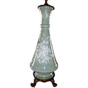 Exquisite Pate-Sur-Pate Double Pull Table Lamp ~ Celadon Green~ Ormolu Claw Footed Base Before 1930's