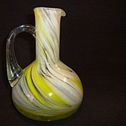 Nice Art Glass Ewer ~ Swirled Yellow, White and Clear Design