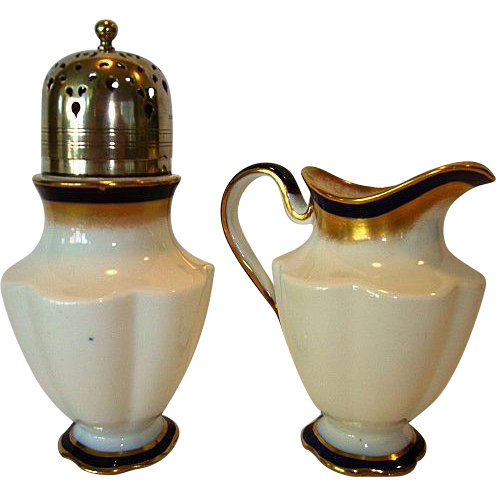 Elegant English China Sugar & Shaker with Silver Top~ White, Cobalt and Gold ~ George Jones & Sons England Pre 1921