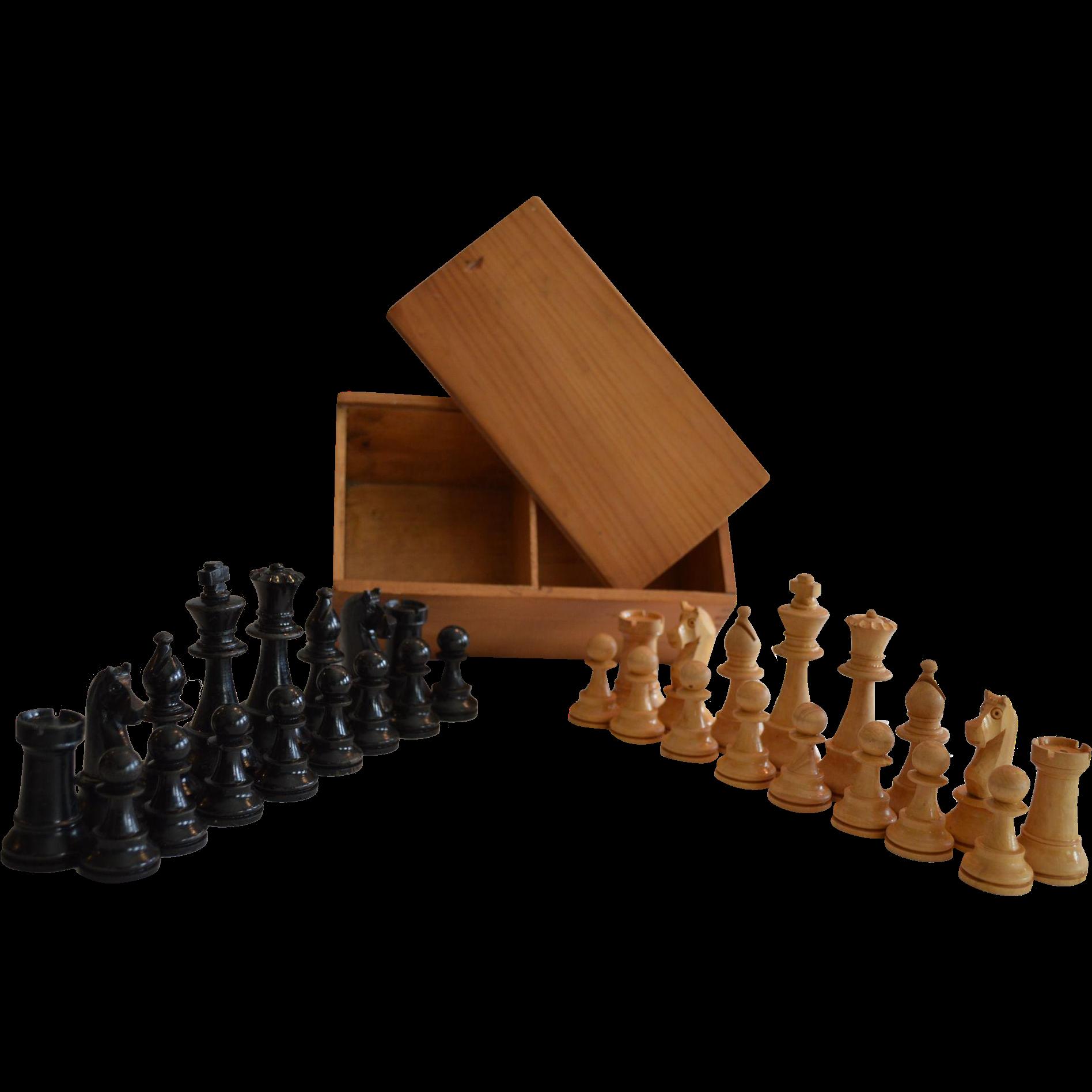 Vintage Wooden Chess Set in Wooden Storage Box ca 1920