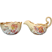 Sugar & Creamer Set ~ Earthenware ~ Floral Decoration C2020 ~ Doulton Burslem England 1891-4902