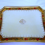 Beautiful Pickard Decorated Porcelain Tray ~ Tomascheko Poppy Border ~ Pickard Studios Chicago IL 1903-1905