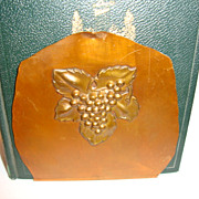 Wonderful Old Hand Wrought Copper Bookends with Grape Designs ~ Drumgold Copper Arts California ~1920's- 1940's