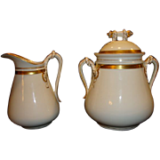 Awesome Limoges Porcelain 1 lb Sugar ~ White & gold with Rope Designs ~ Haviland & Co 1865-1875