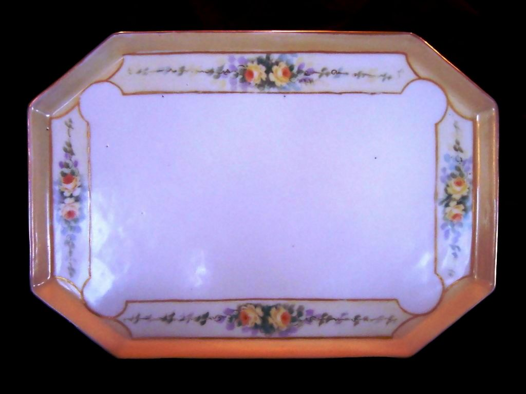 50% OFF!  Exquisite Eight Sided Pierced-Footed Limoges Porcelain Tray ~ Hand Painted with Yellow Roses ~ T & V Tressemann & Vogt 1892-1908