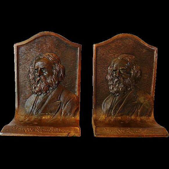 "Nice Vintage Set of Bronze Bookends ~ Henry W. Longfellow ~ K & O Co."" (Kronheim & Oldenbusch) 1895-1939 ."
