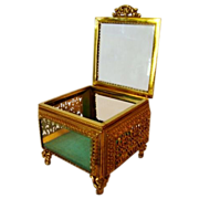 Wonderful Square Glass Jewelry Casket / Box with Beveled Glass ~ Ornate Ormolu Frame ~ 1920's