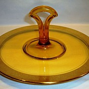Wonderful Handled Sandwich Tray / Plate ~ Amber Glass with gold Encrusted Rambler Roses Design Rim ~  Paden City or Tiffin Glass Co mid 1900's