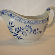 Nice English Earthenware Gravy Boat ~ Dresden Blue Onion ~ Furnivals LTD Cobridge England 1904