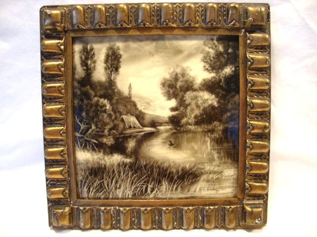 "Amazing English Hand Painted 8"" Tile in Gesso Frame ~ Lake & Thatched Roof House ~  Mintons LTD England 1880"