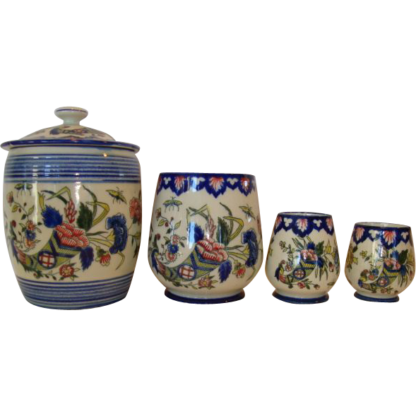 Awesome Gien Faience Measuring Set and Lidded Jar ~  Hand Painted with bright Cornucopia of Flowers~ PORCELAINE DE GIEN (Gien, France) - ca 1876