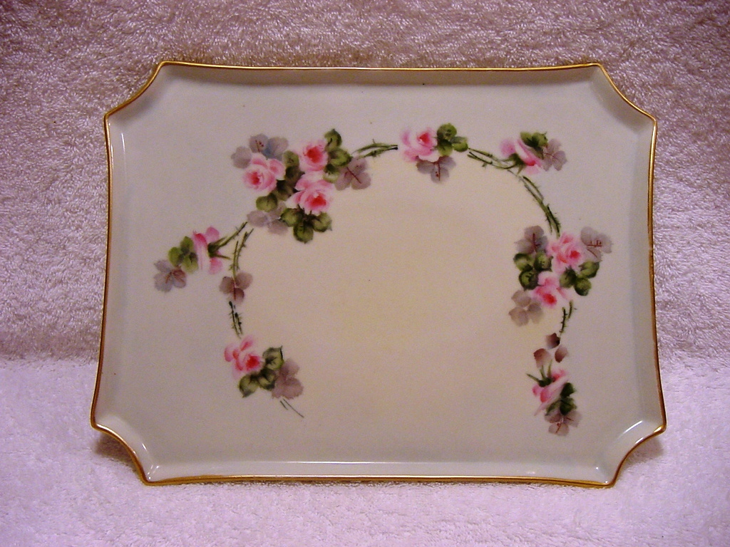 Nice! Limoges France Porcelain Tray ~ Hand Painted with Pink Roses ~  William Guerin ( W G & Co ) 1900-1932