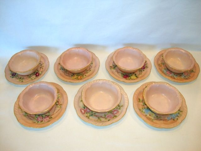 7 Sets available ~ Adorable Limoges Porcelain Ramekins and Saucers ~ Hand Painted Pink with Different Flowers ~ Haviland France 1893-1931