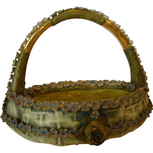 "Exquisite Amphora Basket with Flowers, 10 3/4"" High ~ Bohemian Early 1900's"