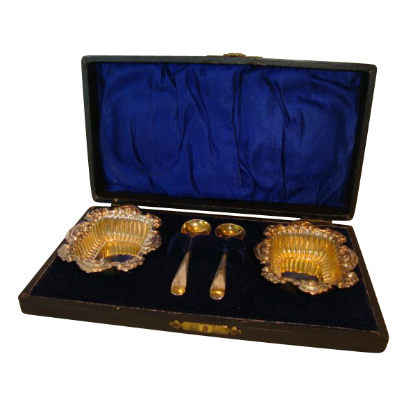 Two Ornate Silver Plated Salt Dips with Silver Plated Spoons