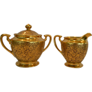 Elegant Gold Embossed Porcelain Creamer and Sugar Set ~ Hand Painted with AOG Rose and Daisy Design ~ Pickard Studios Chicago IL 1930-38