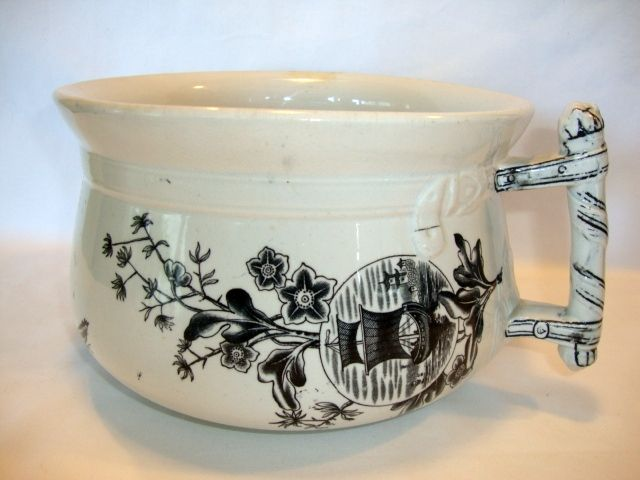 Great English Ironstone Aesthetic Chamber Pot ~ Oriental Design ~ Geisha Girl ~ Yeddo Pattern ~ Edge, Malkin & Co 9/23/1879