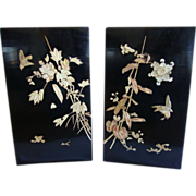 "Two stunning 14"" High, Japanese Lacquer panels  ~ Birds & Bamboo ~ Early 1900's"