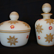 Frosted Glass Vanity Set Perfume Bottle & Powder Box ~ Hand Painted ~ Made in Germany