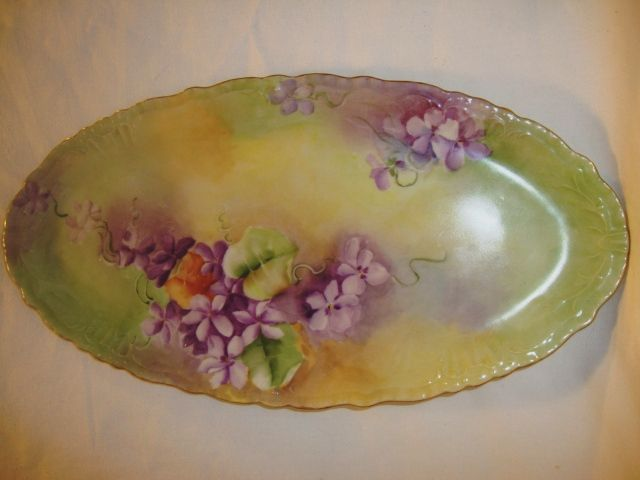 Beautiful Limoges Porcelain Oval Tray ~ Hand Painted with Purple Violets ~ Jean Pouyat ~ Limoges France 1890-1932