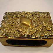 Fabulous Victorian Bronze Match Box Holder ~ Hand Crafted with Repousse Design ~ Townshend & CO New Brighton, PA 1880-1893