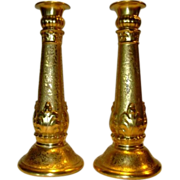 "Exquisite Gold ( AOG) 10""  Candlesticks ~ German Porcelain ~ Signed M Jones 1926 ~L. HUTSCHENREUTHER (Selb, Bavaria, Germany) - ca 1920s - 1926"