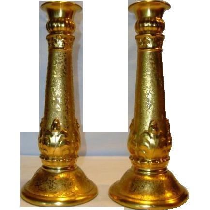 "Exquisite Gold ( AOG) 10""  Candlesticks ~ German Porcelain ~ Signed M Jones 1926 ~L. HUTSCHENREUTHER (Selb, Bavaria, Germany) - ca 1920s - 1926"