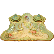 Rare Limoges Porcelain Double Inkwell ~ Hand Painted with Pink & White Flowers on Sea Foam Green ~ Rococo Rim ~ France 1891+