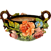 Exquisite French Barbotine Basket / Jardiniere  / Centerpiece with Handle ~Theodore LeFront ~ Fontainebleau France 1835-1893