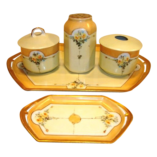 Fabulous  7 Piece Dresser Set~ Trays, Hat Pin Holder, Powder Box, Hair Receiver ~ Austrian Porcelain ~ Hand Painted Art Nouveau Yellow Roses ~ Moritz Zdekauer Austria 1884 – 1910