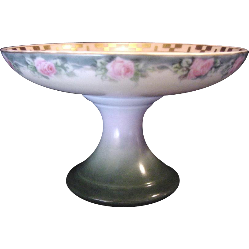 50% OFF!   Limoges Porcelain Compote ~ Hand Painted with Pink Roses ~ Artist Signed ~ R. Delinieres & Co 1879-1900