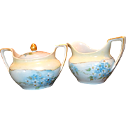 Beautiful Creamer & Sugar Set ~ German Porcelain ~ Hand painted with Blue Forget Me Nots ~ REINHOLD SCHLEGELMILCH - R.S. GERMANY (Germany) - ca 1910 - 1938