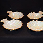 Set of 4 ~ Awesome Condiment / Salt Cups ~ Hand Painted Luster ~ Clam Shell Shaped ~ Artist Nolean signed in the glaze, 1920's