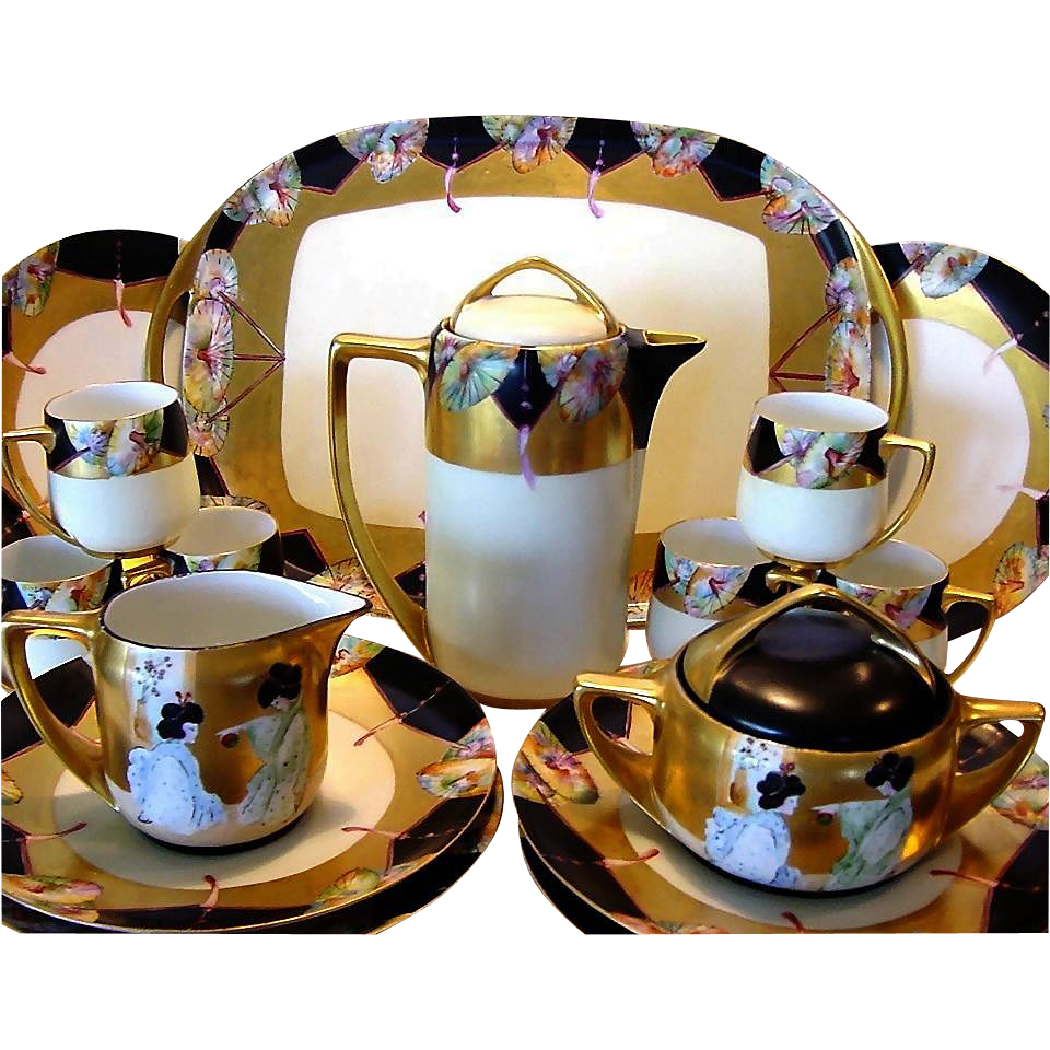 "50% OFF!  Porcelain Dessert Set ~ 20 PIECES ~ Plates, Chocolate / Tea Pot, Creamer, Sugar, Tea Caddy & Tray Set Bavaria Porcelain  ~ Hand Painted with Japanese Motif ~ Artist Signed ""Beth'' ~ Haviland / Rosenthal / Paroutaud Freres 1903-1917."