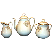 Elegant 5 Piece Coffee Set ~ Coffee Pot, 1lb Sugar and Creamer ~ Limoges Porcelain ~ White with gold Leaves ~ Haviland Limoges France 1876-1886