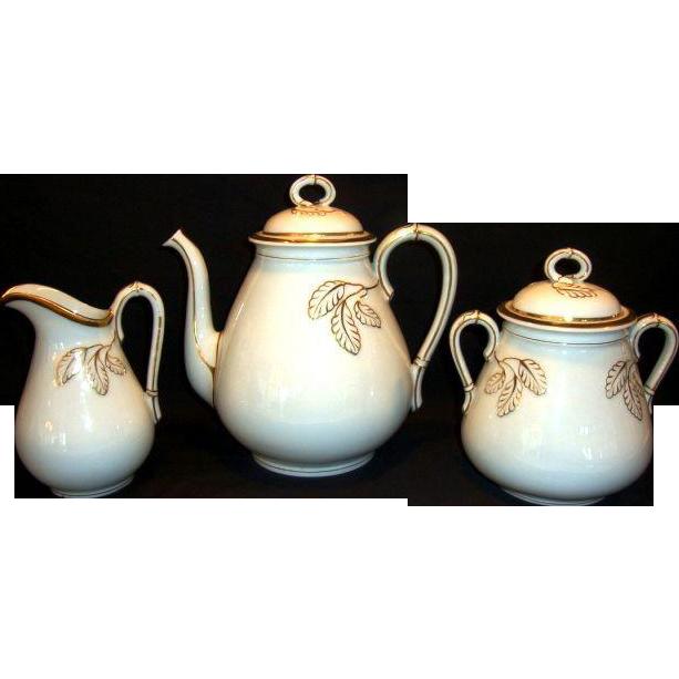 Elegant 5 Piece Coffee Set ~ Coffee Pot, 1lb Sugar and Creamer ~ Limoges Porcelain ~ White with gold Leaves ~ Haviland Limoges France 1876-1886