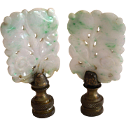 2 Gorgeous White  and Green Jade  Floral Finials ~ Mirrored images ~ Early1900's