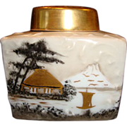 Beautiful Tea Caddy ~ Limoges Porcelain ~ Hand Painted with Oriental Scene ~ Initialed MJ~ Unmarked Tressemann & Vogt Limoges France - Red Tag Sale Item