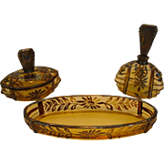 Great Vanity Set ~ Yellow Amber Glass  ~ Silver Overlay Flowers ~ Perfume Bottles, Covered Dish and Tray