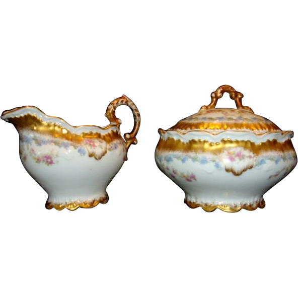 Ornate Limoges Porcelain Creamer And Sugar ~ Blue and Pink Flowers ~ Lewis Strauss & Sons / Mavaleix & Granger Limoges France 1890-1920