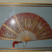 "Extraordinary Large 27"" Hand Held Fan with Alencon Lace Trim Framed ~ Hand Painted with Birds & Flowers ~ Gilt Wood Shadowbox. Late 1800's Early 1900's"