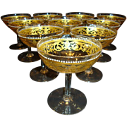 Unique Hand Blown Venetian / Murano 6 OZ Low Sherbet / Champagne Glasses ~ Set of 10 ~ Gold Designs with White Enamel Beads