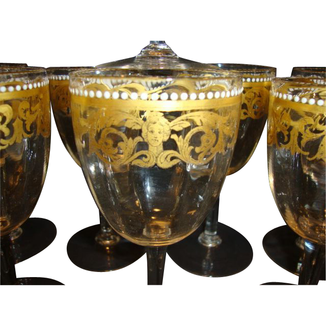 Set of 12 ~Unique Hand Blown Venetian / Murano 8 OZ Wine / Cocktail Glasses ~  Gold Designs with White Enamel Beads