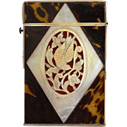 Calling Card Box / Holder ~ Mother of Pearl Dove Intaglio Design late 1800's