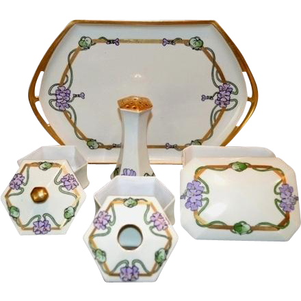 Fantastic 8 Piece Dresser Set~1909. Tray, 2 Lidded Boxes, Hair Receiver, Hat Pin Holder~Hand Painted Art Nouveu Violets~Signed K. Luman~Bernardaud & Co Limoges France / MZ Moritz Zdekauer Austria.