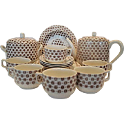 Great Earthenware Set ~ Teapot, Sugar or Biscuit Jar, 4 Cups, 4 Plates, 4 Saucers or Berry Bowl plus extra pieces!~ English Aesthetic Brown Floral Transferware ~ F Winkle & Co Stoke on Trent England 1886 / 1887