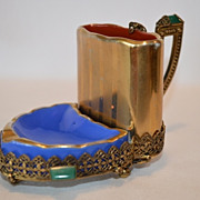 Rare 3 Piece smoking set  / business card holder ~ 10K Gold Filigree / Green Jewels~ C. TEICHERT STOVE & PORCELAIN FACTORY, MEISSEN (Germany) - ca 1882 – 1940