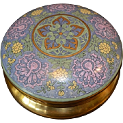 "Exquisite Large 6 ¾"" Dresser Box ~ Art Deco ~ Bavarian Porcelain ~ Hand Painted with Raised Enamel  ~ Peacock and Flower Design ~ Signed B Brown 1914 ~ Favorite Bavaria"